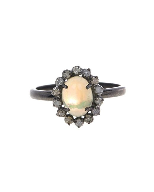 Adornia - Yellow Opal And White Diamond Genevieve Ring - Lyst