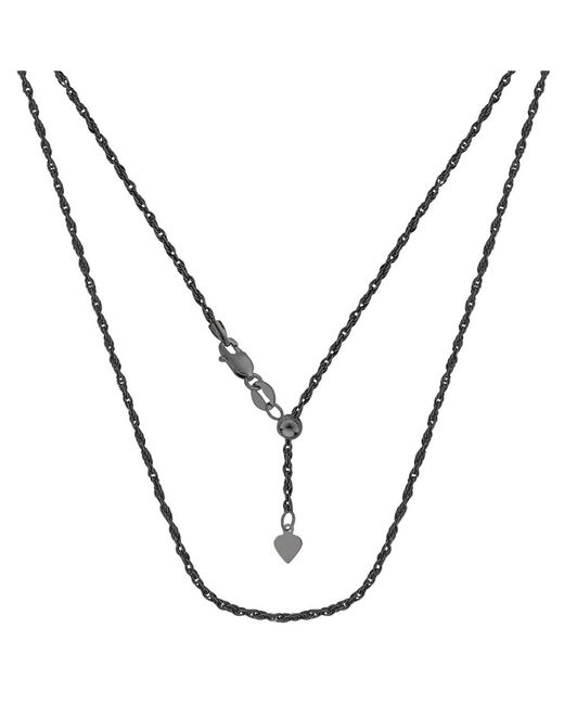 JewelryAffairs - White Sterling Silver Black Ruthenium Plated 22 Inch Sliding Adjustable Rope Chain Necklace, 1.5mm - Lyst