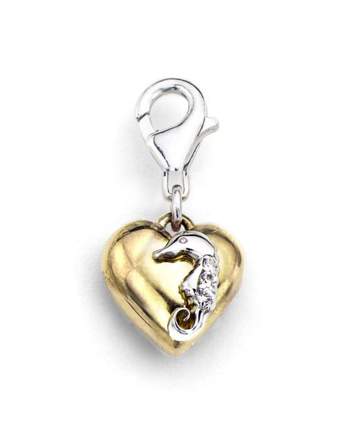 Tia Collections - 0.03ctw Diamond Charm-white Gold Seahorse On A Yellow Gold Puffed Heart In .925 - Lyst