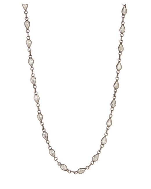Adornia - Metallic Clear Quartz And Sterling Silver Bezeled Necklace - Lyst