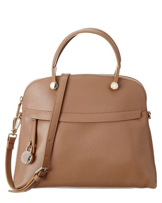 Furla - Brown Piper Medium Leather Dome Bag - Lyst