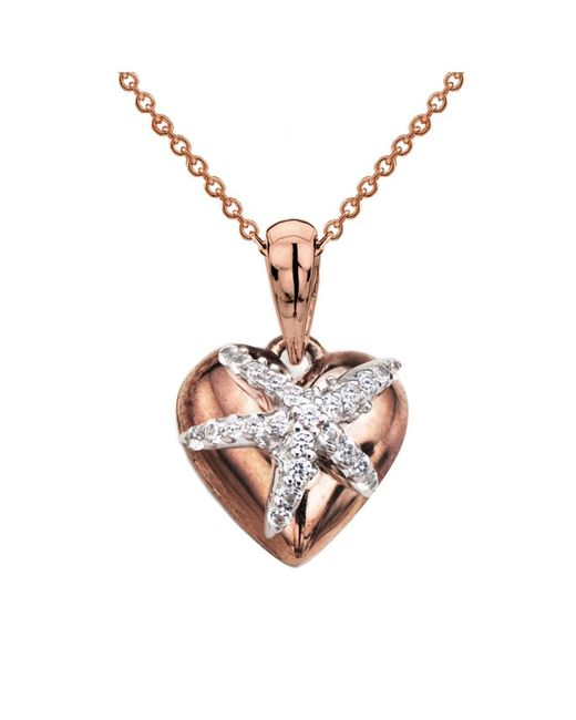 Tia Collections - 0.25ctw Diamond -white Starfish On A Yellow Gold Puffed Heart Pendant - Lyst