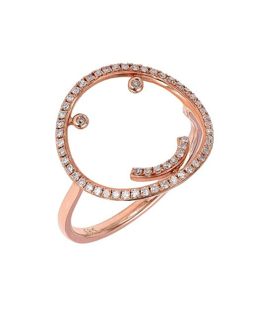 CR By Casa Reale | Pink 18 K Gold White Diamond Smiley Face Ring | Lyst
