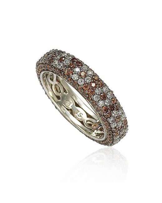 Suzy Levian - Sterling Silver Cubic Zirconia Brown And White Flower Eternity Band - Lyst