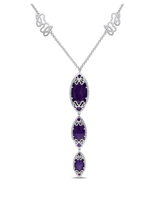Julianna B - 3/8 Ct Diamond Tw And Purple Chalcedony Necklace - Lyst