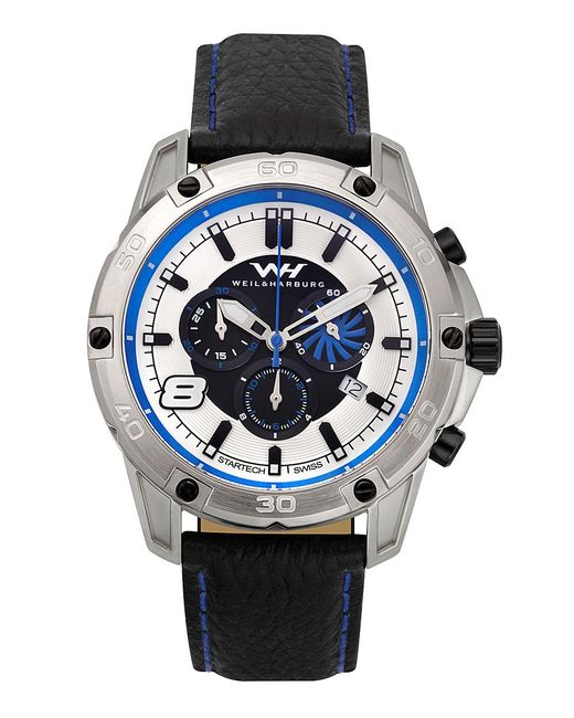 Weil & Harburg - Blue Huxley Swiss Chronograph Men's Watch Screw Down Crown Genuine Leather Strap for Men - Lyst