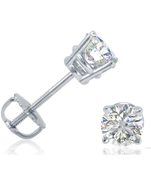 Amanda Rose Collection - Multicolor 3/4ct Tw Igi Certified 14k White Gold Round Diamond Solitaire Stud Earrings With Screw-backs - Lyst