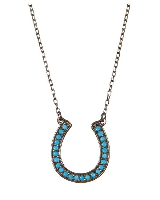 Adornia - Blue Turquoise And Sterling Silver Horseshoe Necklace - Lyst