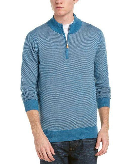 Peter Millar - Blue 1/4-zip Mock Merino Wool Sweater for Men - Lyst