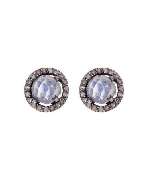 Adornia - White Sterling Silver Echo Moonstone & Champagne Diamond Halo Stud Earrings - Lyst