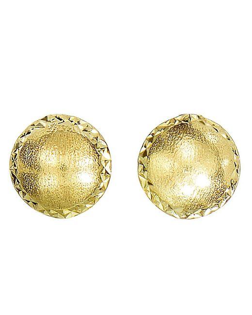 JewelryAffairs | 14k Yellow Gold Satin With Diamond Cut Edges Stud Earrings, 8mm | Lyst