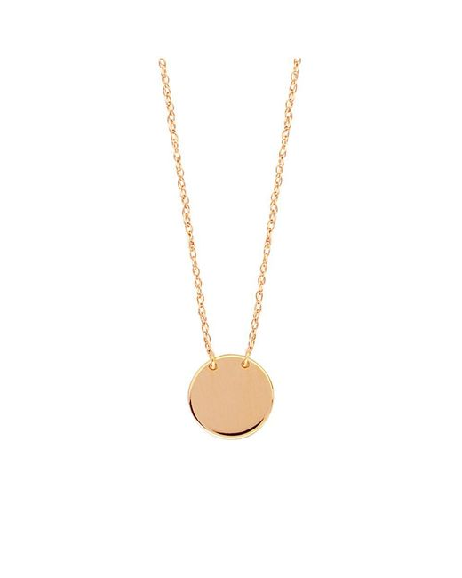 "JewelryAffairs - Pink 14k Rose Gold Mini Engravable Disk Pendant Necklace, 16"" To 18"" Adjustable - Lyst"
