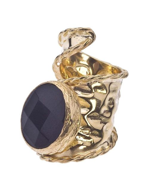 Jewelista - Yellow 18k Gold Plate Adjustable Onyx Ring - Lyst
