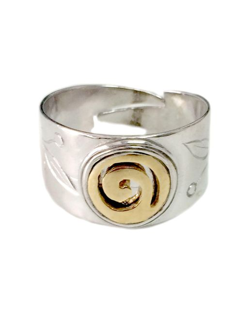 JewelryAffairs - Metallic Sterling Silver And Gold Plated Spira Adjustable Ring - Lyst
