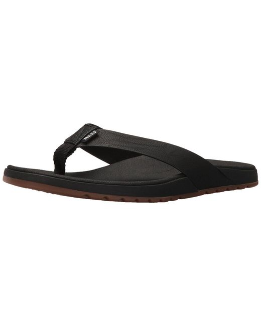 58a5a4accb4b Reef - Black Men s Contoured Voyage Sandal for Men - Lyst ...