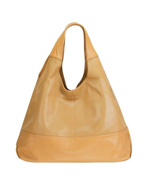 Mofe | Natural Halcyon Perforated Leather Triangular Tote-style Shoulder Bag With Interior Zip Center Divide | Lyst