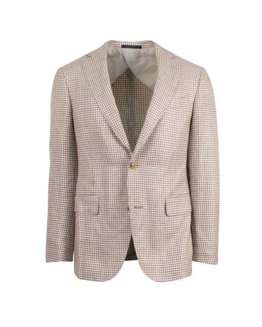 Pal Zileri - Brown Beige Woven Linen Blend 2 Button Sport Coat for Men - Lyst