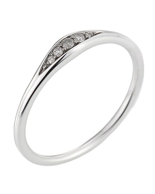 Jewelista - Diamond Tapered Ring In 14k White Gold - Lyst