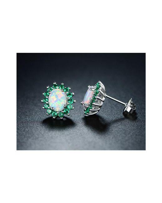 Peermont - Metallic 18k White Gold Plated White Fire Opal & Nano Emerald Flower Stud Earrings - Lyst