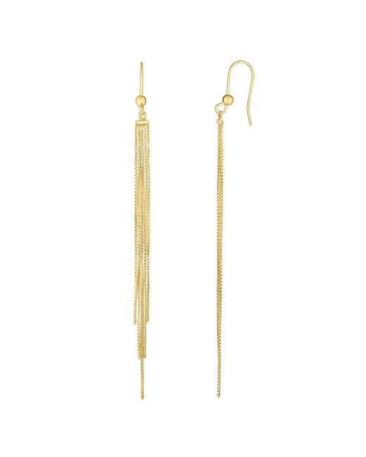 JewelryAffairs - 14k Yellow Gold 5 Strand Box Chain Tassel Drop Earrings - Lyst