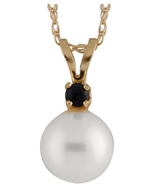Splendid | Metallic Round Sapphire & 7mm Pearl Pendant Necklace | Lyst
