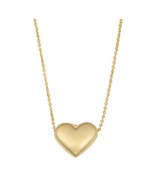 "JewelryAffairs - 10k Yellow Gold Puffed Heart Pendant On 18"" Necklace - Lyst"