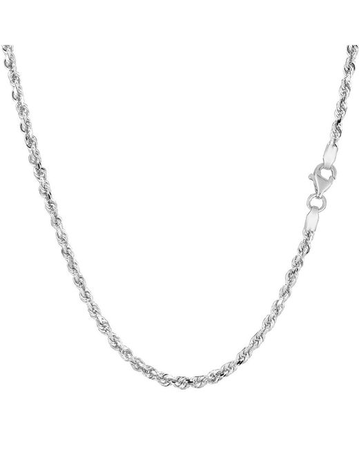 JewelryAffairs - 14k White Gold Solid Diamond Cut Royal Rope Chain Necklace, 2.25mm, 22 Inch - Lyst