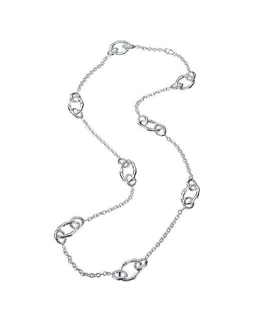 Jewelista - White Sterling Silver Multi-link Station Necklace - Lyst