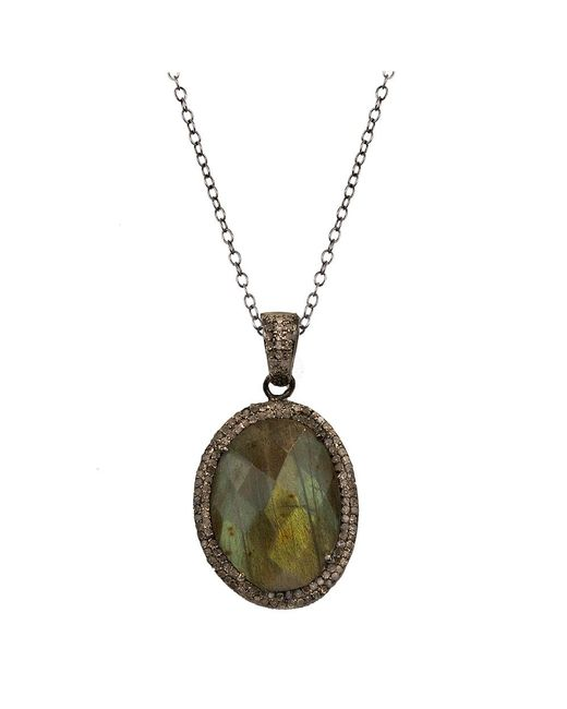Adornia | Green Labradorite And Champagne Diamond Teresa Necklace | Lyst
