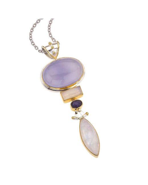 Jewelista - Silver Pendant With Blue Chalcedony, Gems - Lyst