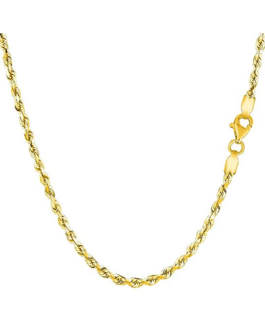 JewelryAffairs - 14k Yellow Gold Solid Diamond Cut Royal Rope Chain Necklace, 2.5mm, 24 Inch - Lyst