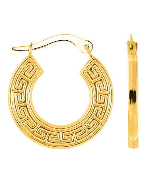 JewelryAffairs | 14k Yellow Gold Round Greek Key Hoop Earrings, Diameter 15mm | Lyst