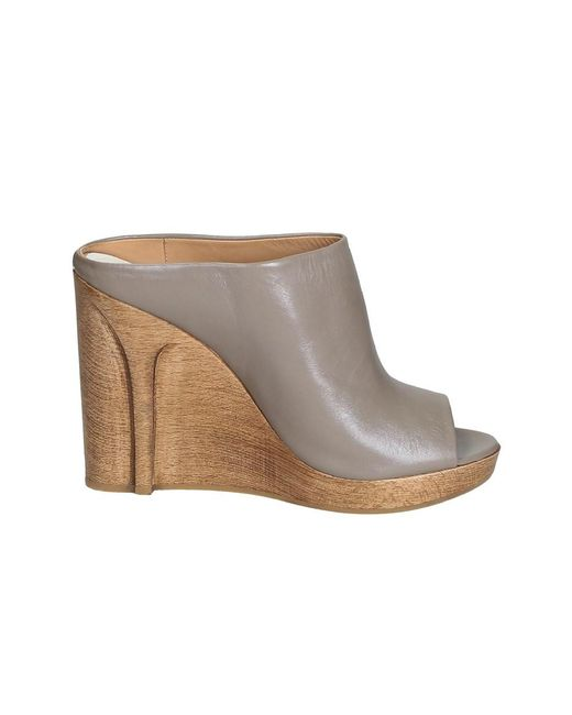 Maison Margiela - Gray Women's Grey Leather Wedges - Lyst