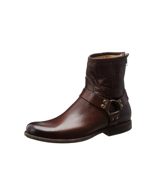 Frye - Brown Womens Phillip Leather Almond Toe Ankle Cowboy Boots for Men - Lyst