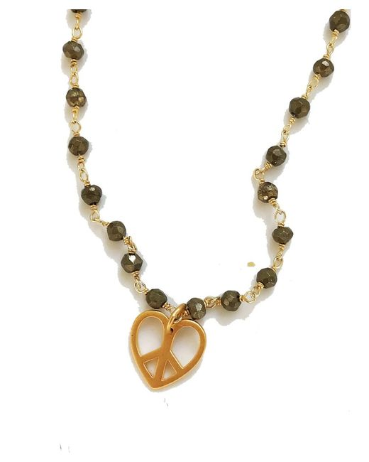 Blue Candy Jewelry   Metallic Gold Heart Peace Sign Charm Necklace   Lyst