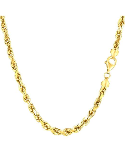 JewelryAffairs - 14k Yellow Gold Solid Diamond Cut Royal Rope Chain Necklace, 4.0mm, 24 Inch - Lyst