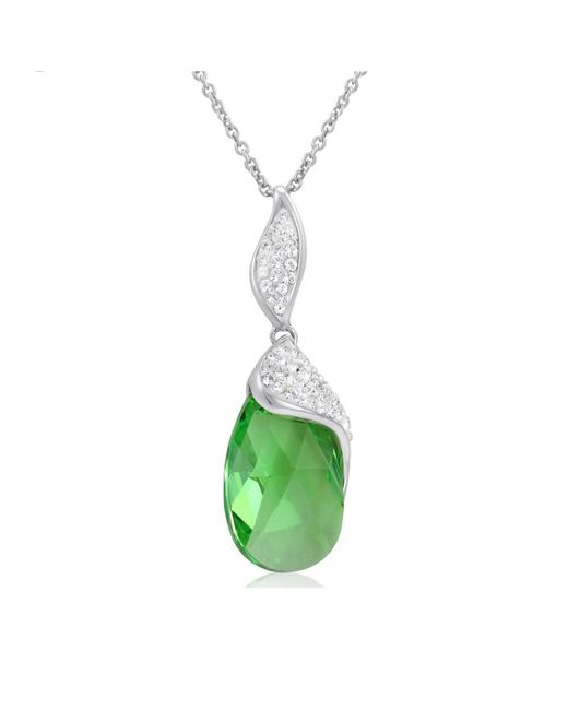 Amanda Rose Collection - Metallic Sterling Silver Tear Drop Pendant Necklace Made With Swarovski Crystals - Lyst