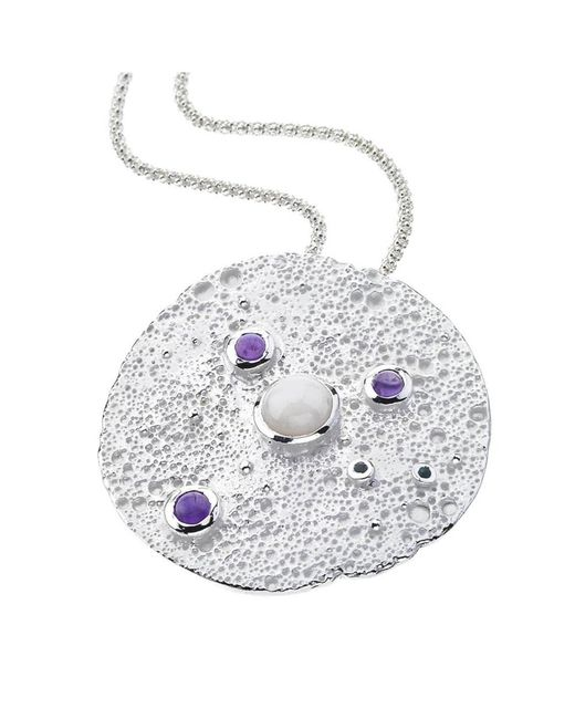 Jewelista | White Sterling Silver Gemstone Moon Pendant | Lyst