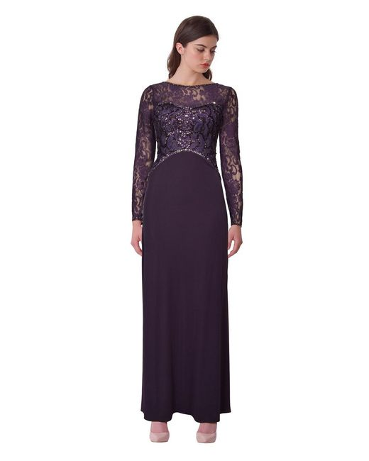 Sue Wong - Purple Sequined Lace Evening Gown - Lyst