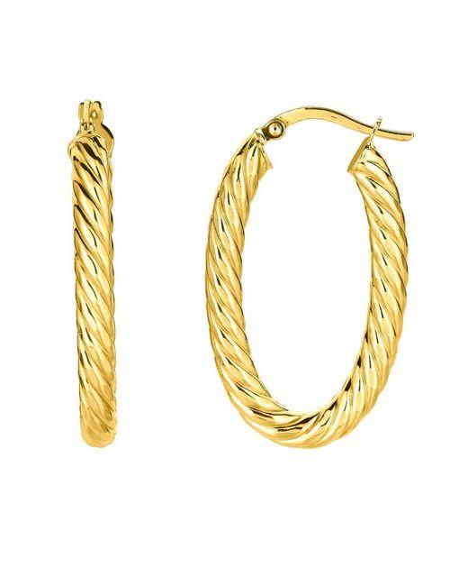JewelryAffairs - 14k Yellow Gold Shiny Oval Shape Twists Hoop Earrings, Length 35mm - Lyst
