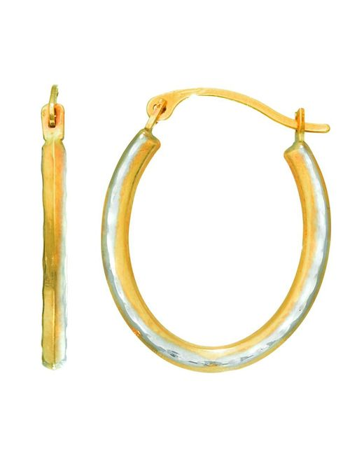 JewelryAffairs | 14k Yellow Gold Alternate Satin Finish Three Sided Oval Hoop Earrings | Lyst