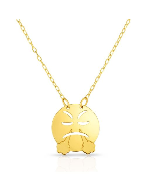 "JewelryAffairs - Metallic 14k Yellow Gold Angry Steam Exhaling Emoji Extendable Necklace, 16"" To 18"" - Lyst"