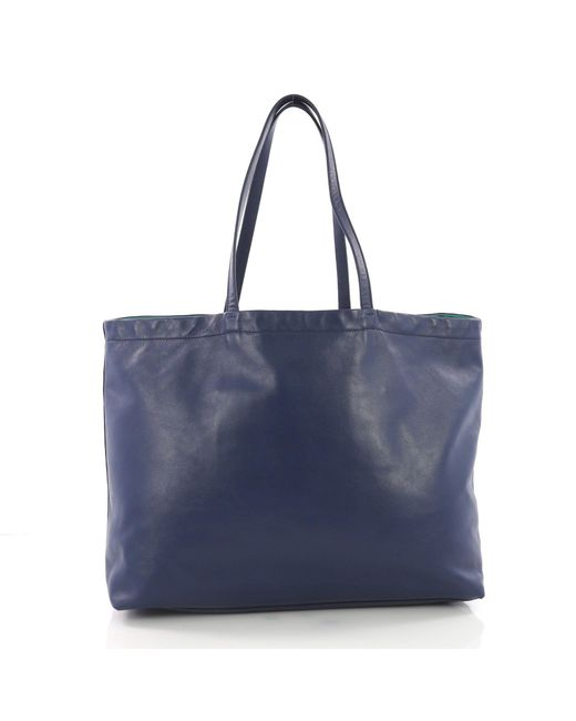 ... Prada - Blue Pre Owned Reversible Tote Soft Calfskin Large - Lyst ... 62f6cd00c9