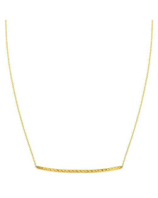 JewelryAffairs - 14k Yellow Gold Sideways Curved Bar Pendant Necklace, 17 - Lyst