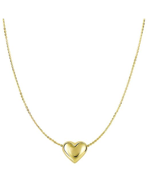 "JewelryAffairs - 14k Yellow Gold Sliding Puffed Heart Pendant On 18"" Necklace - Lyst"