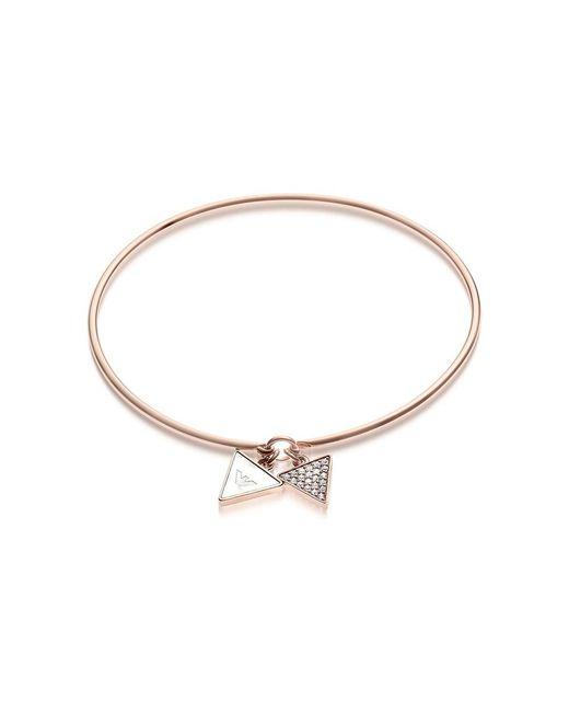 Emporio Armani - Pink Signature Rose Goldtone Bangle W/double Charm - Lyst