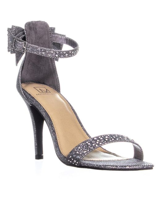Material Girl - Multicolor Mg35 Beverly Back Bow Ankle Strap Sandals, Pewter - Lyst