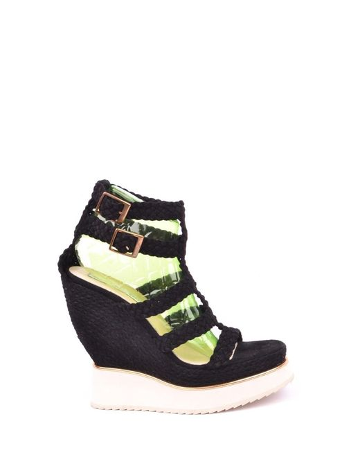 Paloma Barceló - Women's Black Leather Wedges - Lyst