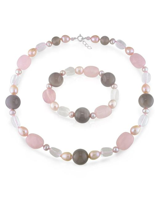 Catherine Malandrino - Multicolor Freshwater Cultured Pearl, Quartz And Grey Agate Strand And Stretch Bracelet - Lyst