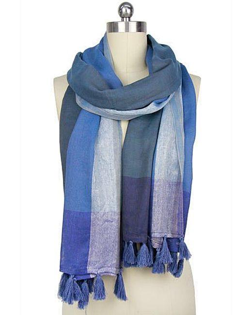 Saachi - Subtle Shimmer Shades Of Blue Scarf - Lyst